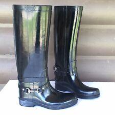 Coach Lori Black Shiny Rubber Rain Boots A7735 Womens Size 7B