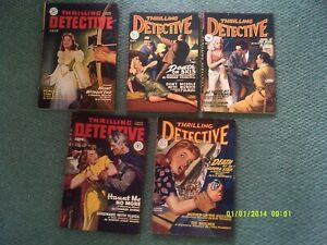 x5 - OLD Thrilling Detective Stories 1940s Magazines Collection / Job Lot