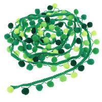 3Yards Pom Pom Ball Tassel Fringe Ribbon Trim Clothing Sewing Applique Green