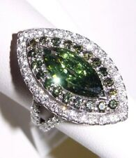 3.80CT(Est.) IRRADIATED Green Marquise Diamond Engagement ring 18K gold s-6.5