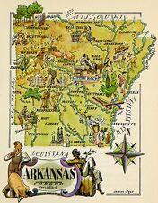 Arkansas Antique Vintage Pictorial Map