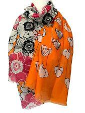 Orange Scarf Ladies Hot Pink Floral Oversized Black Flowers Wrap Large Shawl