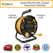 Bayer B25E 25m 10A 4 Socket Heavy Duty Cable Reel Power Extension Cord Lead