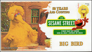 19-158, 2019, Sesame Street, Digital Color Postmark, FDC, Big Bird, 50 Years