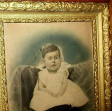 """ANTIQUE CHARCOAL PORTRAIT (BEAUTIFUL BABY) AND FRAME - PASTEL COLORS - 16"""" x 20"""""""