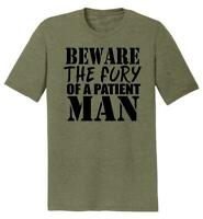 Mens Beware Fury Of Patient Man Tri-Blend Tee Anger Quotes