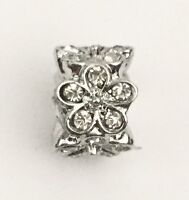 Cz Crystal Dazzling Daisies Style Spacer Charm For Bracelets Silver Plated