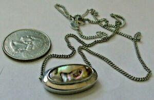 Vintage Avon Abalone & Silver Tone Slide Necklace