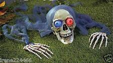 Halloween LED Skull & Positional Hands Yard Décor Flashing Eyeballs on/off NIB