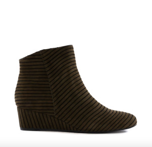 SEYCHELLES - Sultry Ankle Wedge Boots Olive Suede Black Striped Revolve 7.5 NIB
