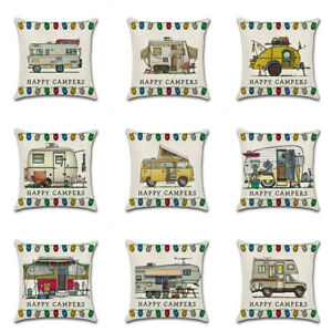 Ornate HAPPY CAMPERS Sofa Waist Throw Cushion Cover Pillow Case Home Sofa Decor