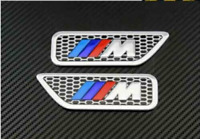 2 x ///M Sport M Power Side Wing Metal Badge Chrome 1,2,3,4 5 X5 UK Stock