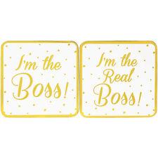 Set de 2 I'M The Real Boss Lui & Elle Doré Sous-Verre Thé Café Tapis