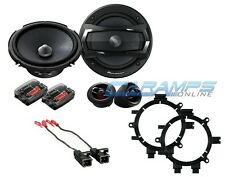 "PIONEER 6.5"" 2 WAY COMPONENT SET CAR TRUCK STEREO SPEAKERS W BRACKETS & HARNESS"