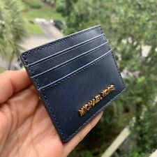Nwt Michael Kors Jet Set Travel Lg Card Case Holder Leather Navy