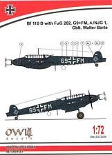 Owl Decals 1/72 MESSERSCHMITT Bf-110D with FuG 202 Oblt Walter Barte