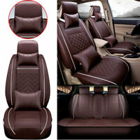 Car Seat Cover PU Leather 5-Seats Front+Rear Sit Protector Universal All Season