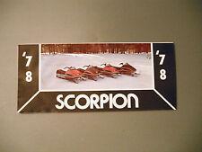 New listing 1978 Vintage Scorpion Snowmobile Foldout Pocket Brochure