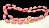 "Rare Vintage 26""x1/2"" Signed Miriam Haskell Pink Glass Bead Necklace A11"
