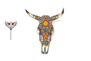 Huichol Art Authentic Cow Skull - Nierika II | Crystal beads