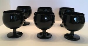 """6 BLOCK Crystal """"CAPERS"""" (Portugal) Set 6 in BLACK 4 1/2 Water/Wine Goblet Rare!"""