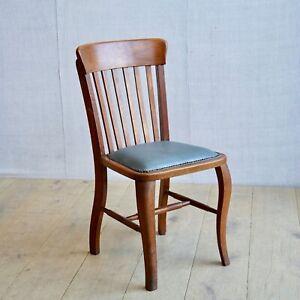 Vintage Antique English 1920s Oak Office Chair