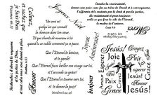 French Scriptures & Greetings 8 x 5 unmounted rubber stamp sheet bible verse #21