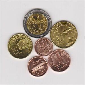 AZERBAIJAN FULL 2006 UNCIRCULATED 6 COINS SET 1 3 5 10 20 & 50 BIMETALLIC QAPIK