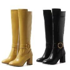 Women 34/45 Gothic Square Toe Zipper 7cm Heel Mid Calf Knee High Biker Shoes D