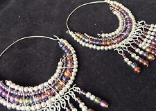 BohoCoho Quirky Boho Hippy Gypsy funky silver & petrol beaded BIG hoop earrings