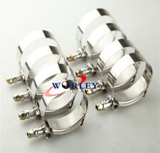 """10 x 3"""" inch 76mm Turbo Pipe Hose Coupler T-bolt Clamps Stainless Steel 79-87mm"""