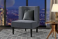 Accent Chair for Living Room, Armless Velvet Chair w/ Curved Backrest Light Grey