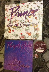 PRINCE REVOLUTION 1984-85 WORLD TOUR/MOVIE PROGRAM BOOKS PIN BACKSTAGE PASS!