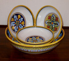 DERUTA Italian Pottery Pasta Bowls Set 5 pcs Hand Paint