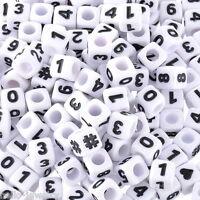 300 Heiß Weiß Acryl Zahlen & Symbol Würfel Perlen Beads Spacer 7x7mm