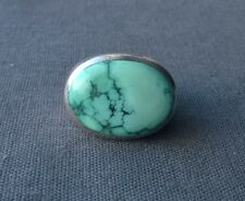 SOLID 925 STERLING SILVER HUGE TURQUOISE NUGGET RING M1/2