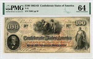 1862 T-41 $100 Confederate States of America Note - CIVIL WAR Era PMG Ch.CU 64