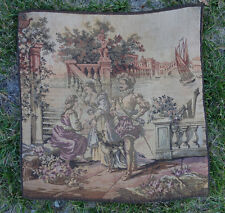 1 Vintage Pillow Tapestry French Victorian castle people scene Italy marked