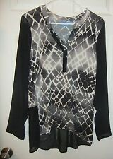 Simply Vera Sz L Top Black/Gray Print~Extra Long Sheer Sleeves~Vera Wang