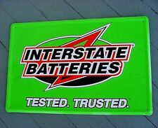 NOS near mint 1970s Vintage INTERSTATE BATTERY Old 18x12 in Gas Station Tin Sign