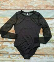 Cosabelle $154 black bodysuit long mesh sleeve size S