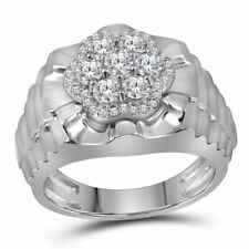 10kt White Gold Mens Round Diamond Flower Cluster Ribbed Ring 1.00 Cttw