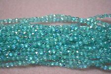 Czech Fire Polished 3mm round faceted glass beads - Light Teal AB