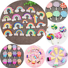 10 Mixed Color Polymer Clay Cabochons Various Lollipop Icecream Rainbow Flatback