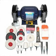 370W Bench Grinder With Deluxe Metal Polishing Kit (inc Mops, Compounds etc)
