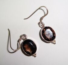 STERLING SIVER AND SMOKEY QUARTZ GEMSTONE DANGLE EARRINGS