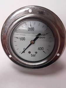 "Pressure Gauge  63mm 0/400 bar 1/4"" BSP c/w Front Flange"