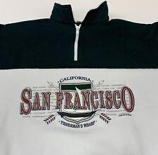 Vtg San Francisco 1/4 Zip Pullover Sweatshirt L/Xl Made in Usa 90's