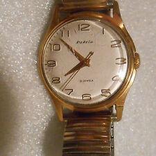 vintage Russian Raketa mens gold plated 21 jewel wristwatch running
