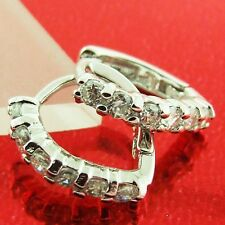 AN160 18K WHITE GOLD G/F SOLID DIAMOND SIMULATED LADY HUGGIE STUD HOOP EARRINGS